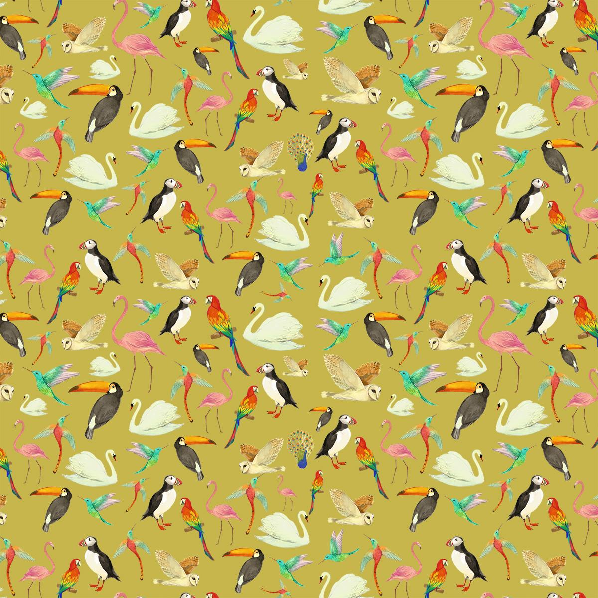 bird pattern yellow background melissa launay
